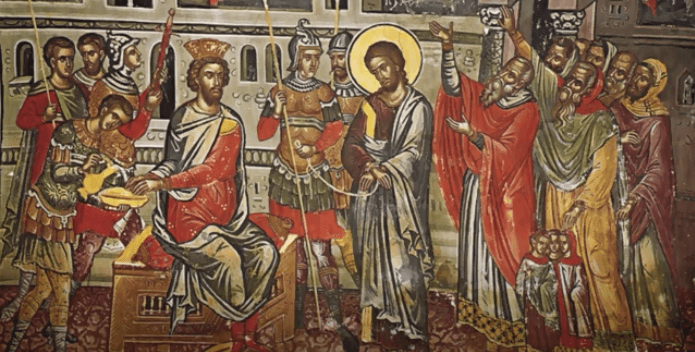На фото изображен Иисус перед Синедрионом.