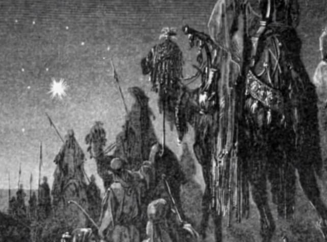Вифлеемская звезда. Черно-белое фото.