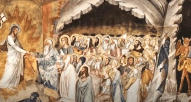 На фото изображено сошествие Иисуса в ад.