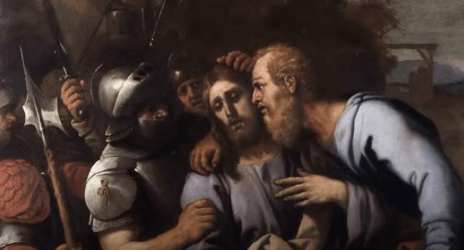 На фото изображен поцелуй Иуды и арест Иисуса.