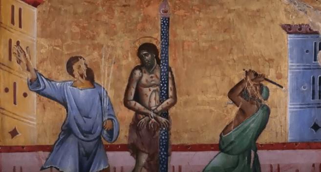 На фото изображено бичевание Иисуса Христа.