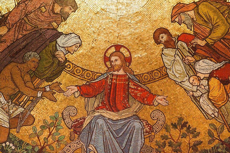 На фото изображен Иисус Христос, и люди, которые пришли у нему за помощью.