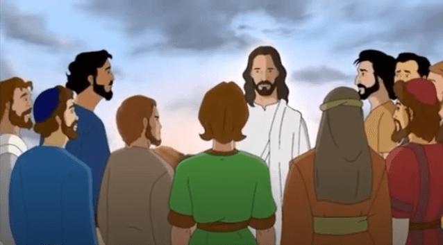На фото изображен кадр из мультфильма. Иисус с учениками.