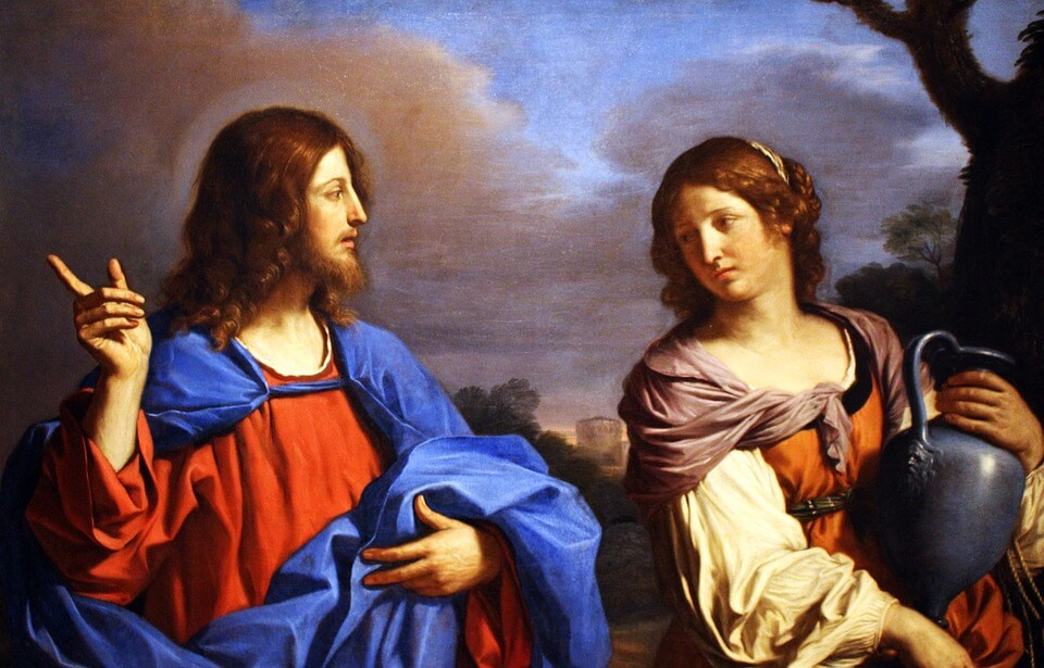 На фото изображены Иисус и Мария Магдалина.
