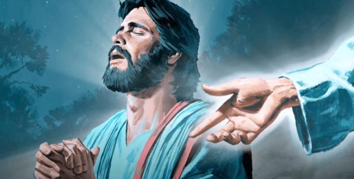 На фото изображено как Иисус молится в Гефсиманском саду.