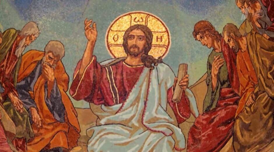 Иисус Христос с учениками.
