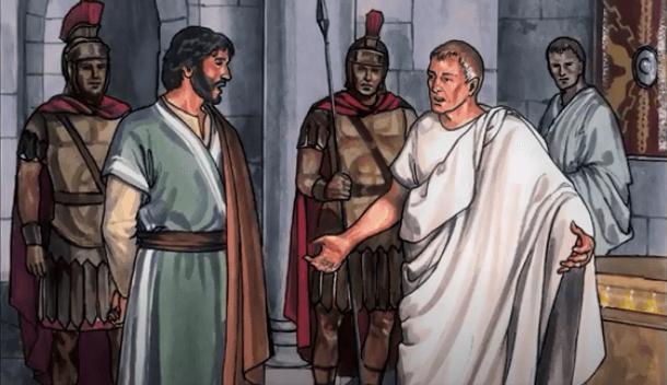 На фото изображен Иисус перед Понтием Пилатом.