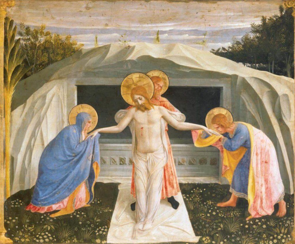 На фото изображено погребение Иисуса Христа.