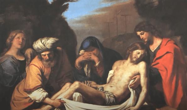 На фото изображено положение Иисуса во гроб.