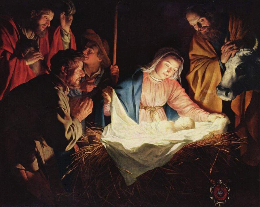 На фото изображено рождение Иисуса Христа.