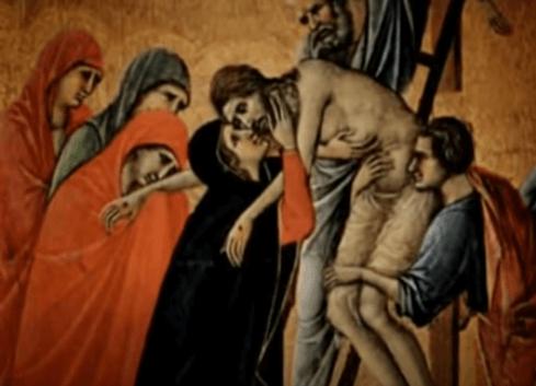 На фото изображено снятие Иисуса Христа с креста.