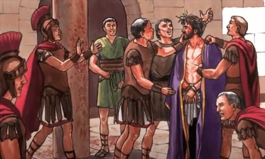 На фото изображено увенчание Иисуса терновым венцом.