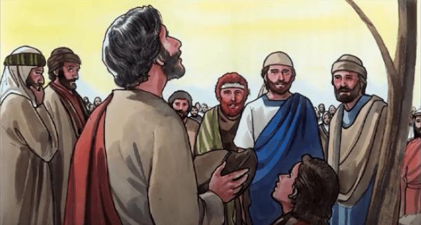 На фото изображено, как Иисус просит Бога помочь ему накормить 5 тысяч человек.
