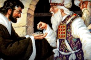 На фото изображено как Иуда предает Иисуса за 30 серебрянников.